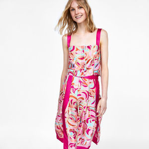 NWT Zara Pink Paisley Print Button Front Tank Top